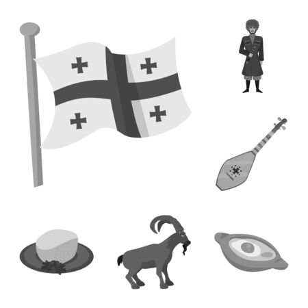 Vector design of attributes and tourism logo. Set of attributes and national stock symbol for web.