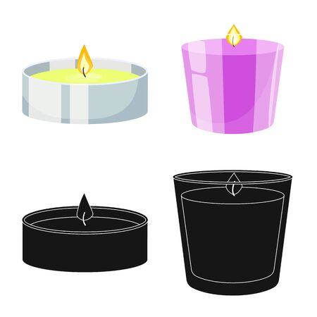 Vector illustration of relaxation and flame icon. Set of relaxation and wax stock vector illustration. Ilustração