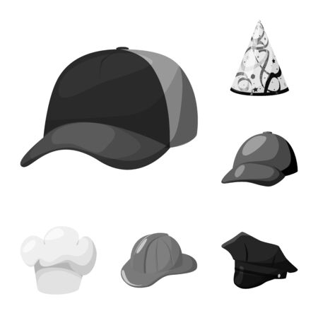 Vector illustration of hat and helmet icon. Set of hat and profession vector icon for stock.