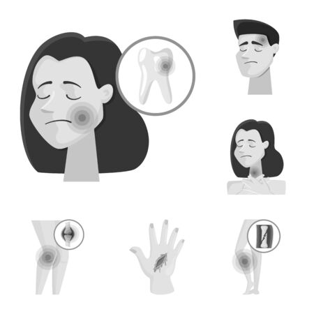 Isolated object of suffering and injury sign. Set of suffering and damage vector icon for stock. Ilustração