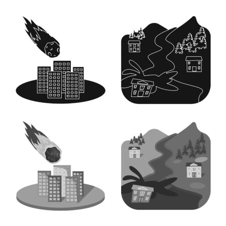 Objeto aislado de clima y símbolo de socorro. Conjunto de icono de vector de clima y accidente para stock.