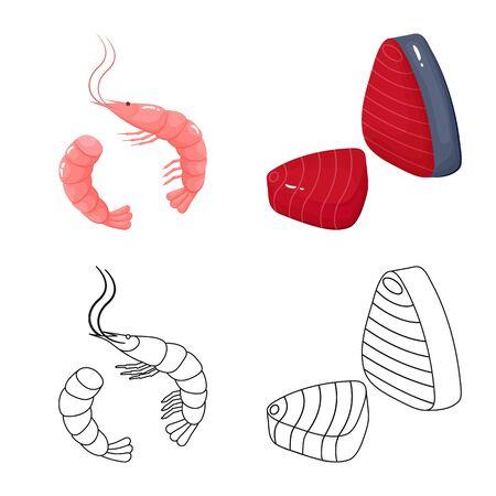 Vector design of fresh and restaurant sign. Set of fresh and marine stock symbol for web. Illustration