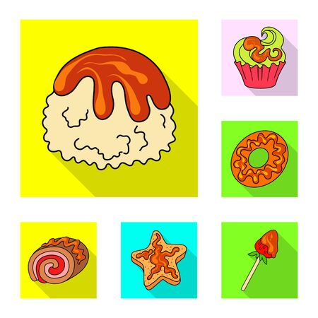 Vector design of confectionery and culinary sign. Collection of confectionery and colorful stock vector illustration.