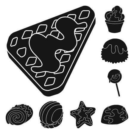 Isolated object of sweetness and product sign. Set of sweetness and sweet vector icon for stock. 向量圖像