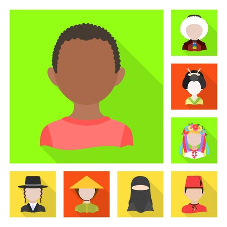 Vector design of nation and race icon. Collection of nation and user stock symbol for web.