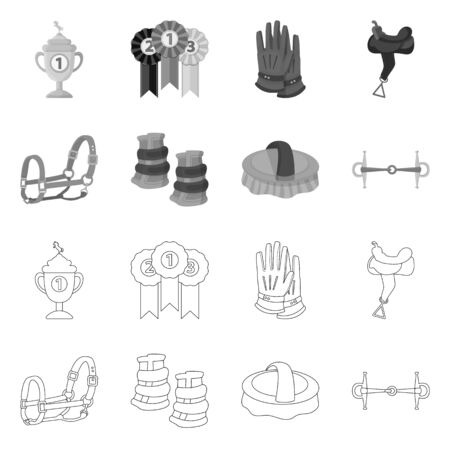 Vector design of equipment and riding symbol. Collection of equipment and competition stock vector illustration.