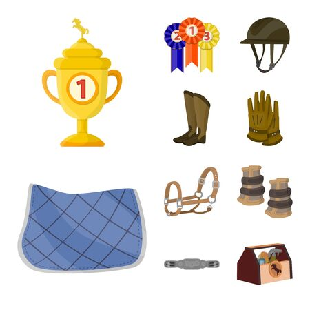 Vector design of horseback and equestrian icon. Collection of horseback and horse vector icon for stock. Çizim