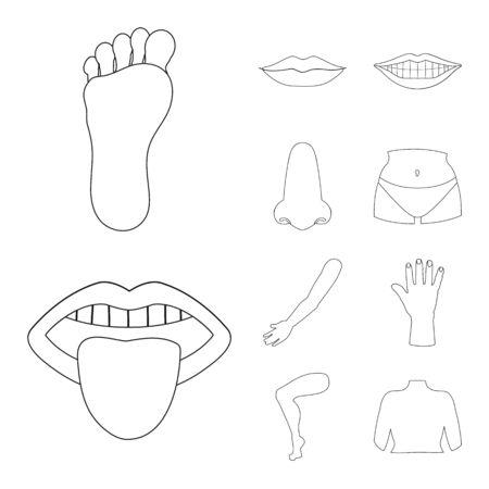 Conception vectorielle du logo du corps et de la pièce. Ensemble de symbole boursier du corps et de l'anatomie pour le web.