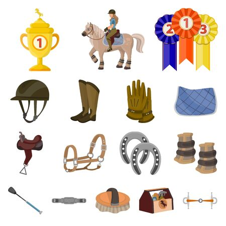 Isolated object of horseback and equestrian sign. Collection of horseback and horse stock vector illustration. Ilustração