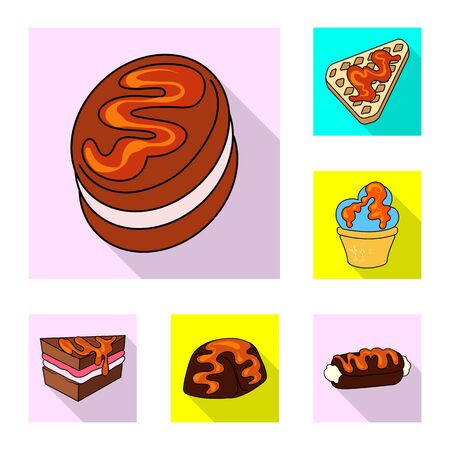 Vector illustration of confectionery and culinary icon. Collection of confectionery and colorful stock symbol for web. Ilustração