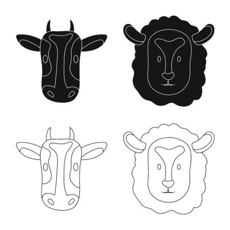 Isolated object of agriculture and breeding icon. Set of agriculture and organic stock vector illustration.