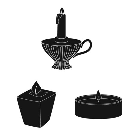Isolated object of candlelight and decoration sign. Set of candlelight and wax stock symbol for web. Ilustracja