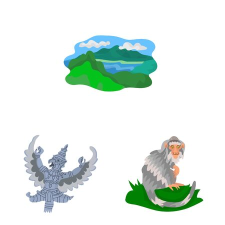 Vector design of bali and indonesia sign. Collection of bali and caribbean stock symbol for web. 矢量图像