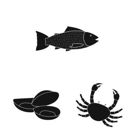Vector design of market and marine icon. Collection of market and sea vector icon for stock.