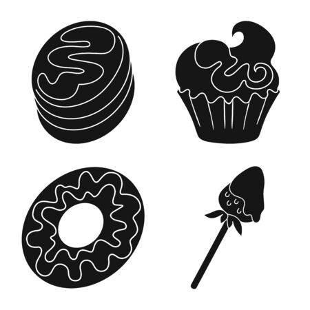 Vector design of sweetness and product icon. Collection of sweetness and sweet vector icon for stock.