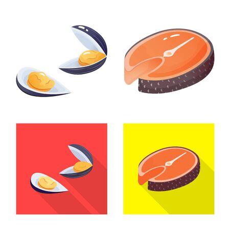Vector illustration of fresh and restaurant logo. Collection of fresh and marine vector icon for stock. Иллюстрация
