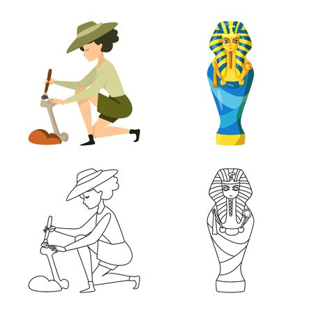 Vector illustration of story and items logo. Set of story and attributes stock symbol for web.