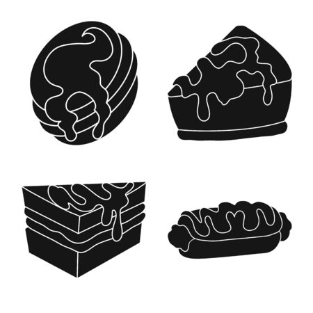 Vector design of sweetness and product sign. Collection of sweetness and sweet stock symbol for web.