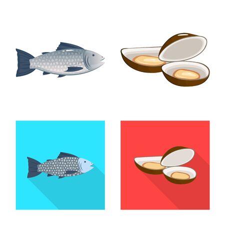 Vector design of fresh and restaurant sign. Set of fresh and marine stock vector illustration. Archivio Fotografico - 130958369