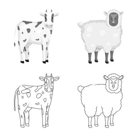 Isolated object of breeding and kitchen logo. Set of breeding and organic stock vector illustration. Reklamní fotografie - 130766773