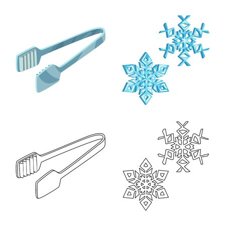 Vector design of texture and frozen sign. Set of texture and transparent stock vector illustration.