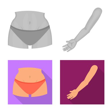 Isolated object of body and part sign. Collection of body and anatomy stock vector illustration. Archivio Fotografico - 130770000