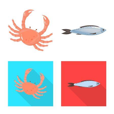 Vector illustration of fresh and restaurant sign. Set of fresh and marine stock vector illustration.