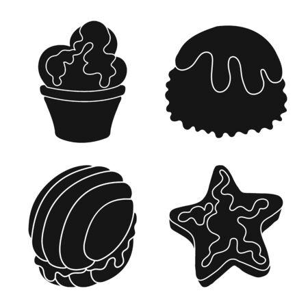 Vector illustration of sweetness and product symbol. Set of sweetness and sweet stock vector illustration. Ilustração