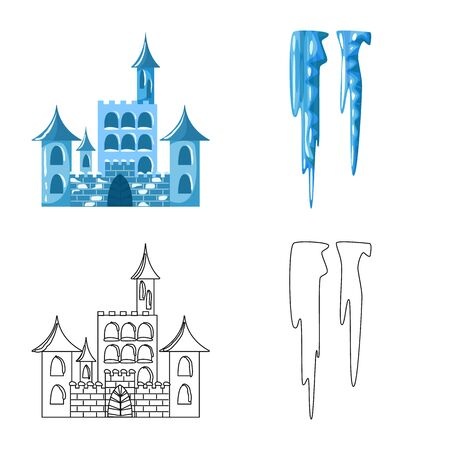 Vector design of texture and frozen icon. Set of texture and transparent vector icon for stock.
