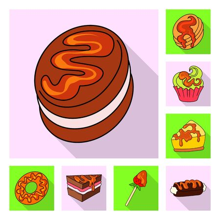 Vector illustration of confectionery and culinary icon. Collection of confectionery and colorful stock vector illustration.