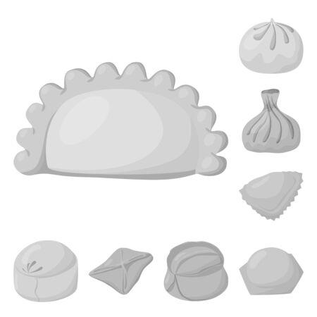Vector design of dumplings and stuffed symbol. Collection of dumplings and dish vector icon for stock. Иллюстрация
