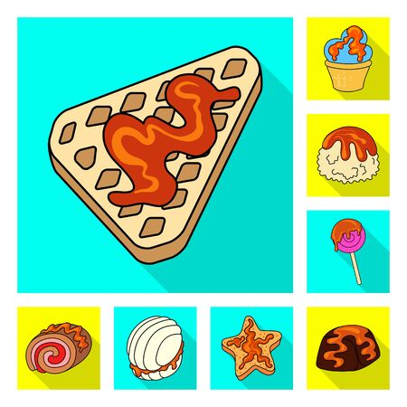 Isolated object of confectionery and culinary icon. Set of confectionery and colorful vector icon for stock.