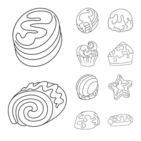 Isolated object of sweet and product sign. Set of sweet and caramel vector icon for stock. Ilustração