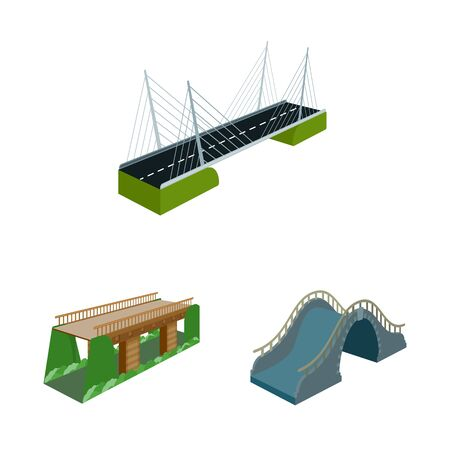 Vector illustration of bridgework and architecture icon. Collection of bridgework and structure vector icon for stock.