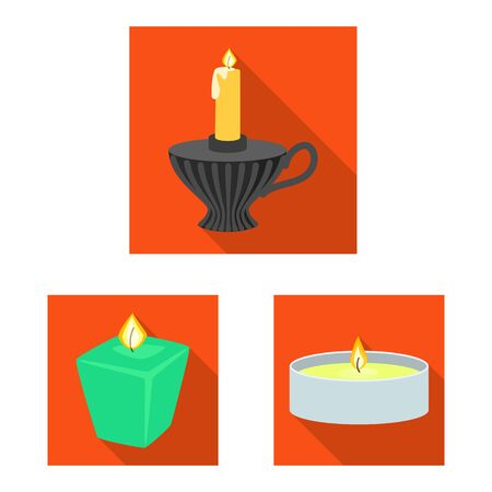 Isolated object of candlelight and decoration symbol. Collection of candlelight and flame stock vector illustration. Ilustracja