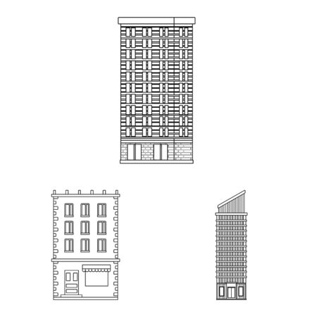 Isolated object of architecture and exterior logo. Collection of architecture and city vector icon for stock. Logo