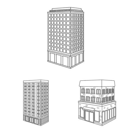 Isolated object of home and apartment icon. Collection of home and modern stock vector illustration.