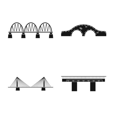 Isolated object of construct and side symbol. Set of construct and bridge stock symbol for web. Stock Illustratie