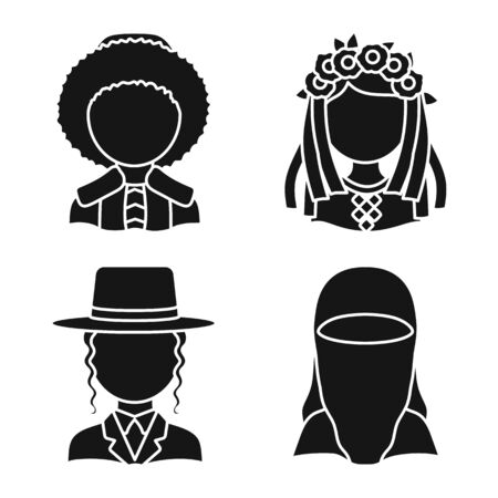 Isolated object of person and culture icon. Collection of person and race stock symbol for web. Иллюстрация
