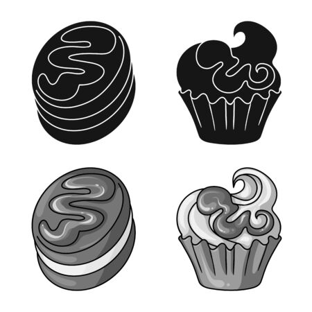 Isolated object of confectionery and culinary logo. Collection of confectionery and product stock symbol for web.