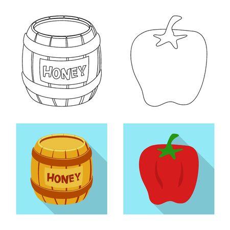 Vector illustration of taste and product logo. Set of taste and cooking stock vector illustration. Ilustração