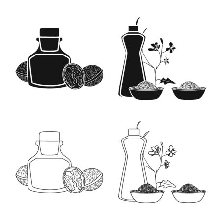 Vector illustration of healthy and vegetable symbol. Collection of healthy and agriculture vector icon for stock. Çizim
