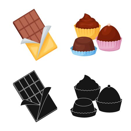 Vector illustration of food and yummy icon. Collection of food and brown stock vector illustration.