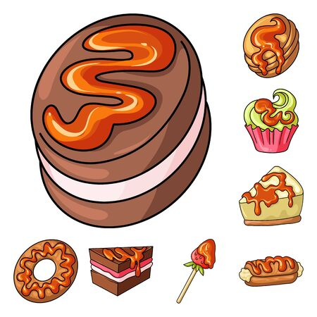 Vector illustration of dessert and sweet sign. Collection of dessert and food stock vector illustration.