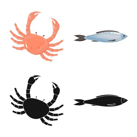 Vector design of fresh and restaurant icon. Set of fresh and marine vector icon for stock. Иллюстрация