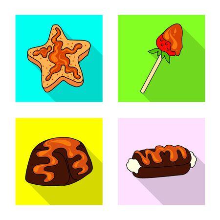 Vector design of confectionery and culinary sign. Set of confectionery and colorful vector icon for stock. Ilustração