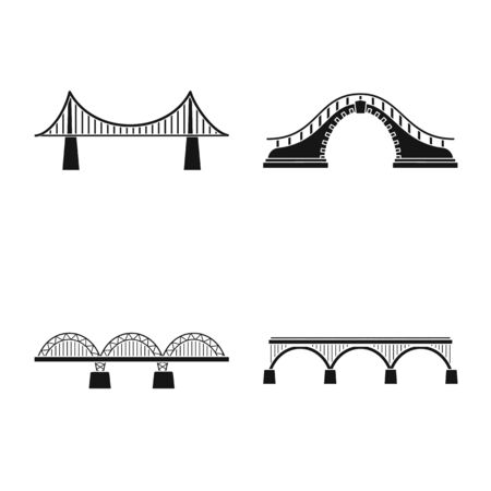 Isolated object of construct and side symbol. Set of construct and bridge stock vector illustration.
