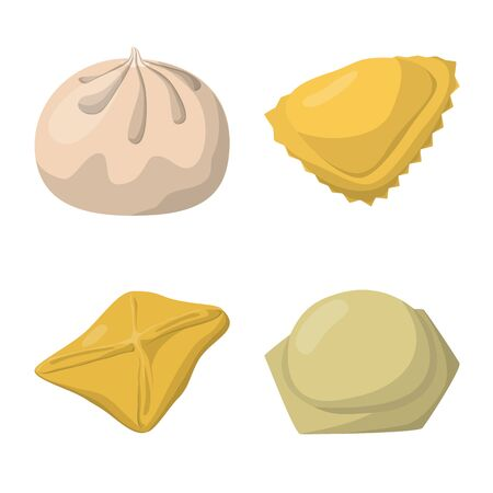 Vector design of dumplings and food symbol. Collection of dumplings and stuffed stock vector illustration.