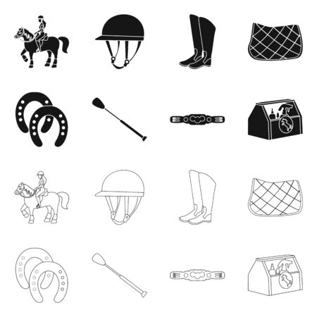 Vector design of equipment and riding logo. Set of equipment and competition stock symbol for web.