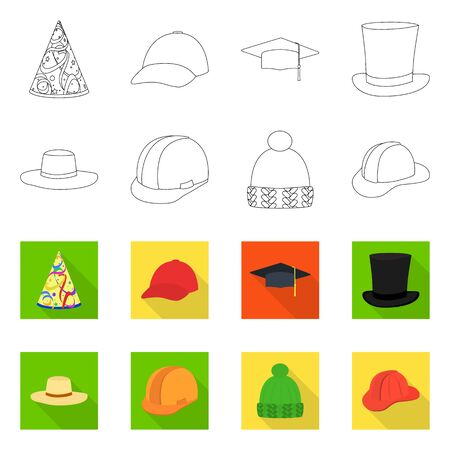 Vector design of clothing and cap symbol. Collection of clothing and beret vector icon for stock.